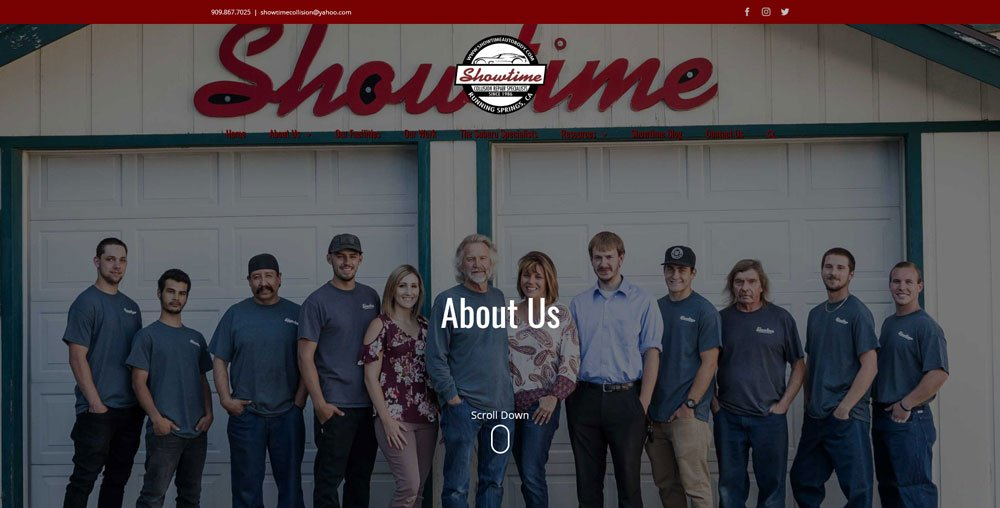 Screenshot of Showtime Collision about us page after redesign