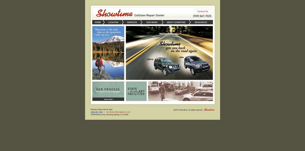 Screenshot of Showtime Collision website before redesign