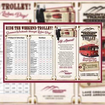 Mountain Transit brochure displayed over blurred version of Mountain Transit brochure