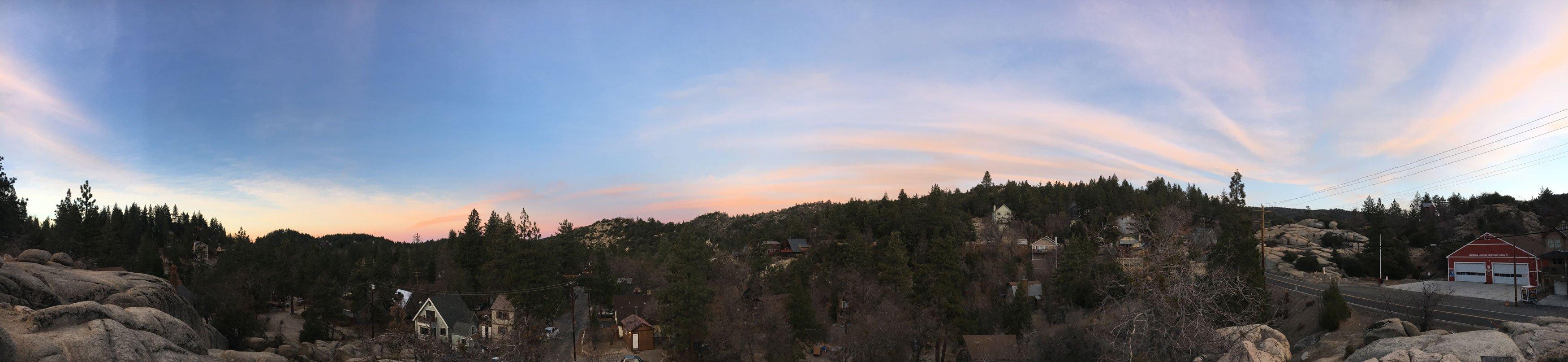 Panoramic view of Arrowbear Lake at sunset